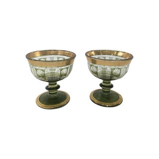 Green Glass & Gold Leaf Compotes - A Pair