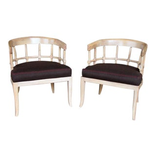 A Stylish Pair of American 1950's Pickled-Oak Barrel-Back Chairs