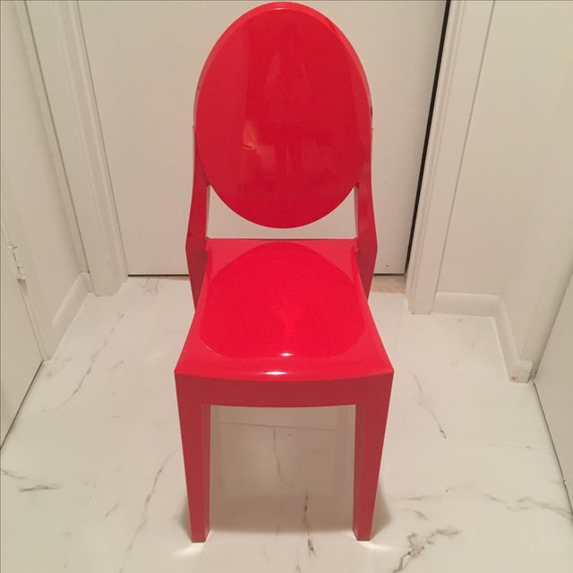 Philippe starck red ghost chairs set of 4 chairish for Philippe starck ghost chair
