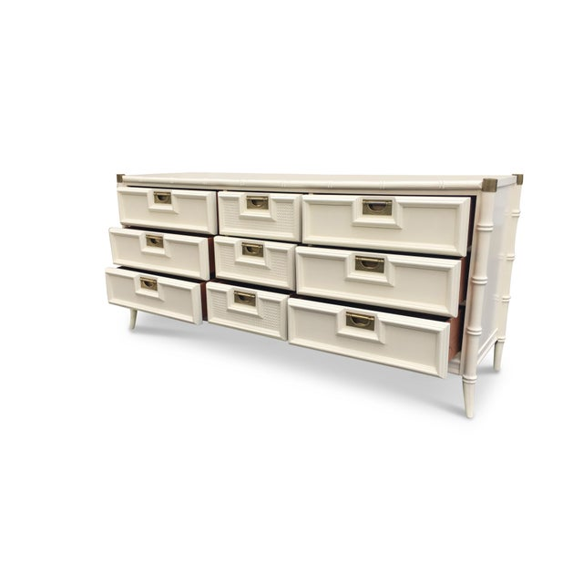 Stanley White Faux Bamboo Dresser Lacquered Chairish