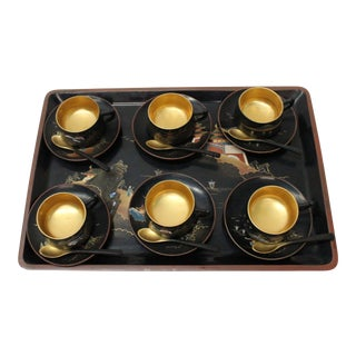 Vintage Japanese Black & Gold Laquerware Tea Set - 19 Pieces
