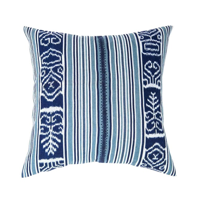 Indigo & Teal Guatemalan Ikat Pillow - Image 1 of 6