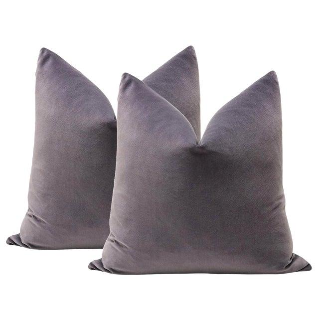 "22"" Smokey Amethyst Velvet Pillows - A Pair - Image 4 of 4"