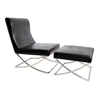 Vintage Black Vinyl and Chrome Barcelona Style Lounge Chair and Ottoman Mid Century Modern MCM Chaise Lounge Club