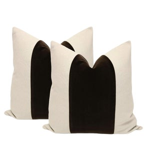"22"" Chocolate Velvet Panel and Linen Pillows - A Pair"