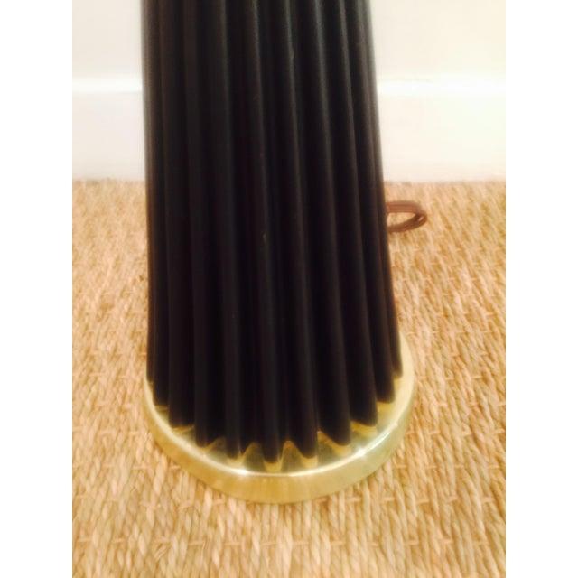 Atomic Black & Brass Metal Pleated Skirt Lamp - Image 4 of 5