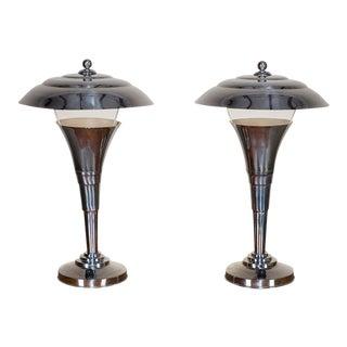 Pair Vintage French Art Deco Chrome Lamps circa 1935