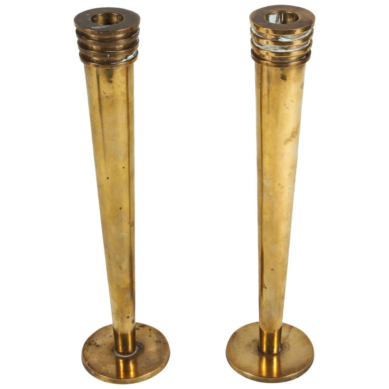 Brass Candlesticks hudson rissman brass candlesticks - a pair | chairish