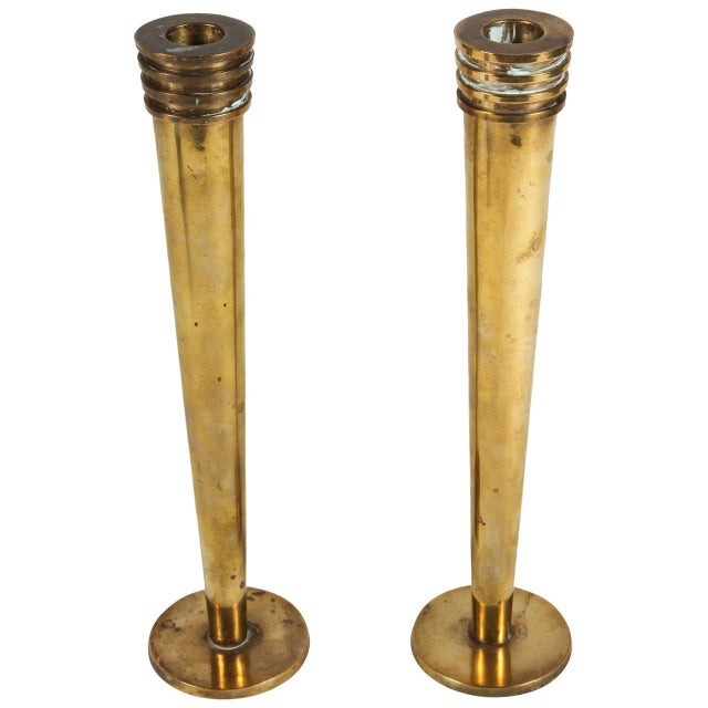 Image of Hudson Rissman Brass Candlesticks - A Pair