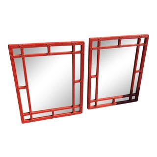 Faux-Reed Mirrors in Tomato - A Pair