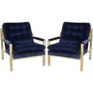 "Worlds Away Navy Velvet ""Cameron"" Lounge Arm Chairs With Gold Leafed Metal Frames – a Pair"