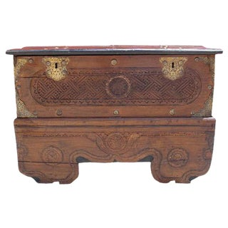 Moroccan Antique Carved Trunk