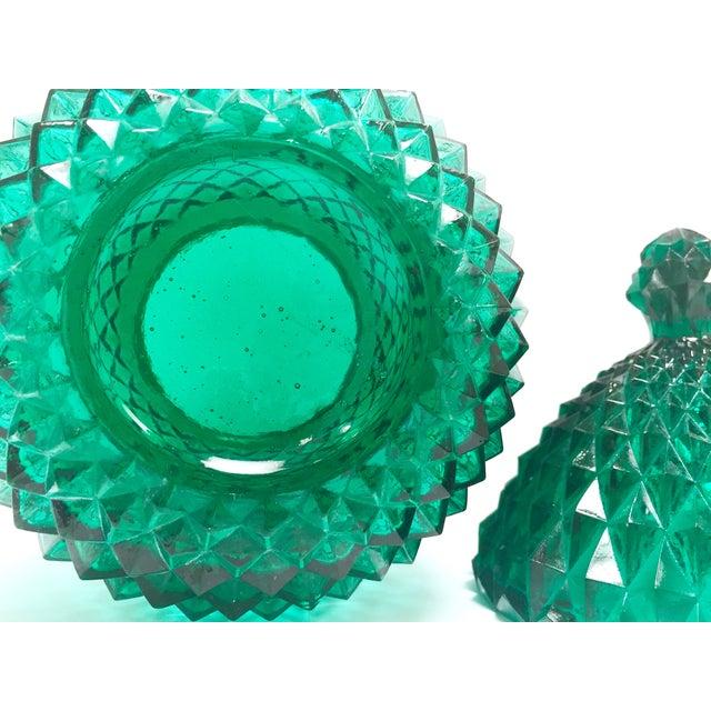 Image of Mid-Century Emerald Pressed Glass Pineapple Jar