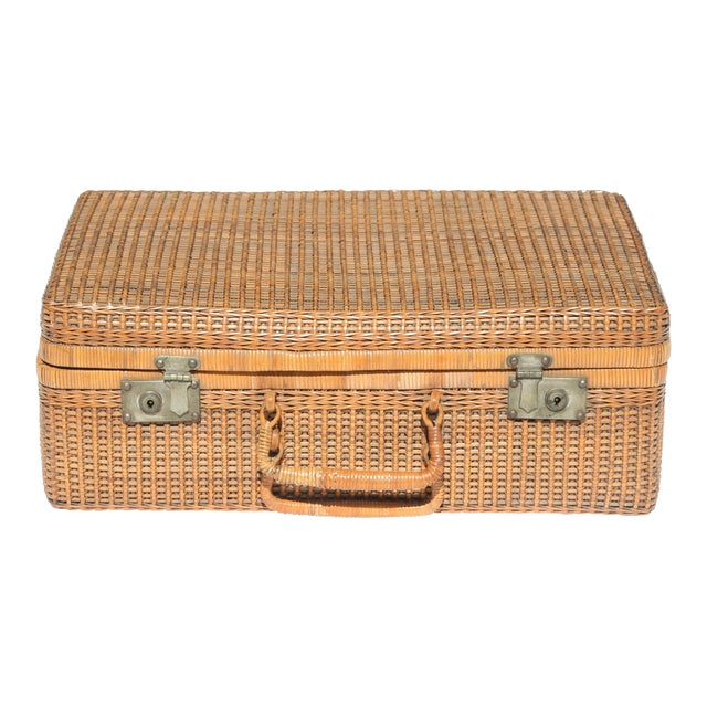 Vintage Wicker Suitcase | Chairish