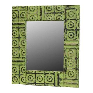 Green Bull's Eye Tin Mirror