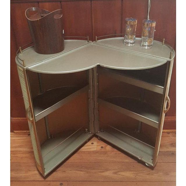 vintage 50s portable round bar cart chairish. Black Bedroom Furniture Sets. Home Design Ideas