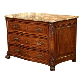 18th Century French Louis XIV Marble Top Walnut Commode