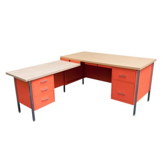 Industrial Modern Orange Metal L Desk and Return