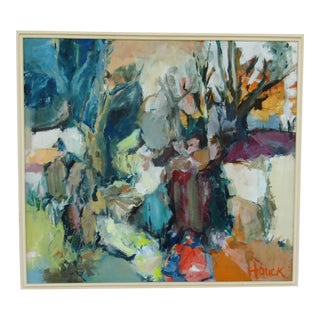 Vintage Expressionist Abstract Oil Painting