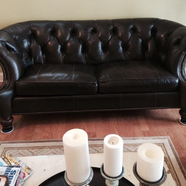 Southern Living Leather Sofa, Olive Brown - Image 3 of 4