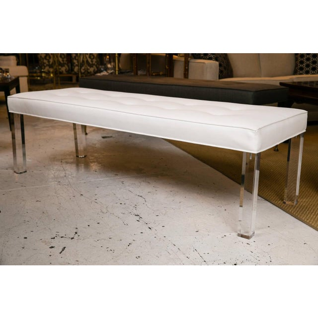 Mid-Century Lucite Tufted White Vinyl Bench - Image 2 of 7