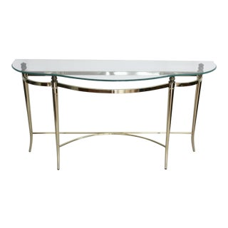 Glass & Brass Maison Jansen-Style Console Table