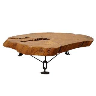 Wood slab cocktail table