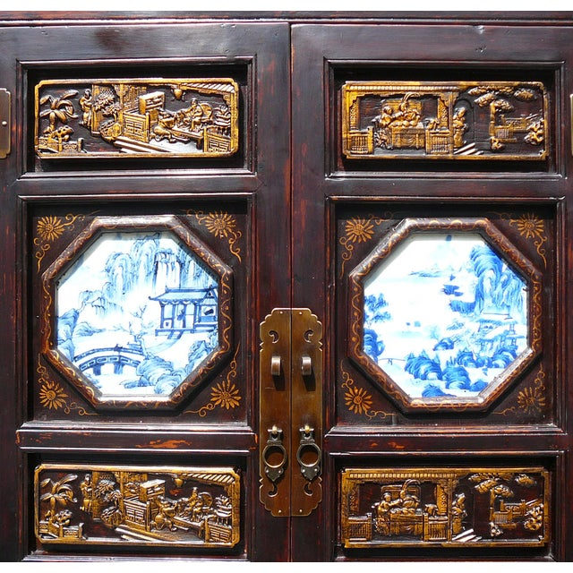 Hand Made Chinese Wood Carved Armoire - Image 4 of 6
