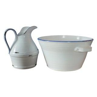 French Style White Glazed Stoneware Pitcher/Basin