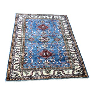 Kazak Style Wool Tribal Rug - 5′ × 7′7″