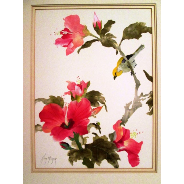 Yellow Sparrow & Pink Hibiscus Watercolor - Image 3 of 7