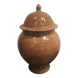 Beige Ceramic Lidded Vessel