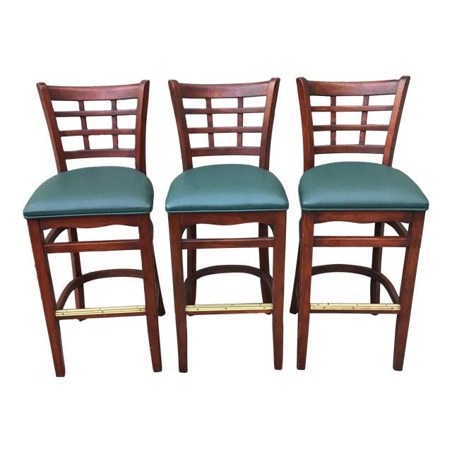 Mahogany Upholstered Barstools - Set of 3 - Image 1 of 3