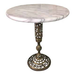 Vintage Marble Top Brass Side Table