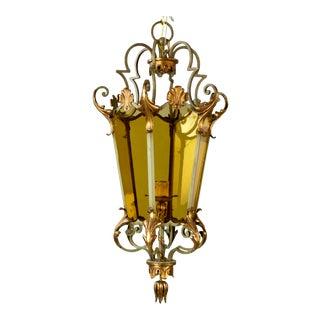 Italian Six Panel Gilt and Amber Glass Hall Lantern C.1920
