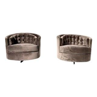 Milo Baughman Mid-Century Tub Swivel Chairs - A Pair