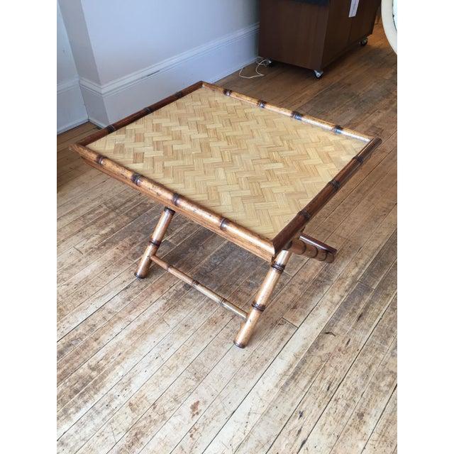 Mid-Century Rattan Folding Side Table - Image 2 of 5