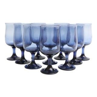 Mid Century Blue Stemmed Wine Glasses - Set of 10