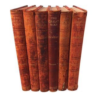 """Antique Red Leather """"The Great War"""" Books - Set of 6"""