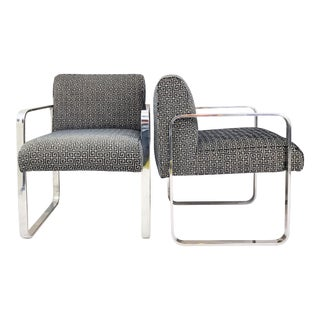 Milo Baughman Flat Bar Chrome Lounge Chairs - a Pair