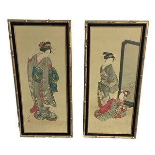 Chinese Gold Bamboo Geisha Paintings - Pair