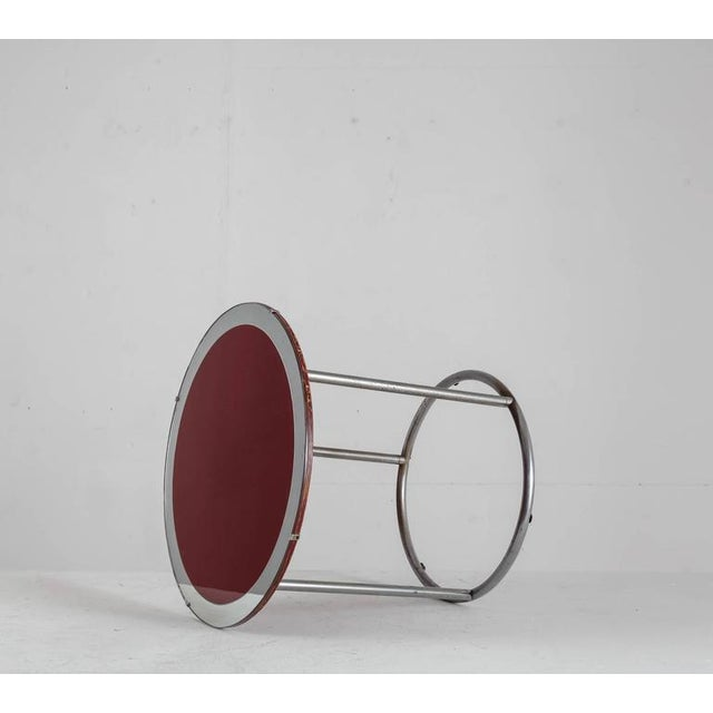 Image of 1920s Tubular Metal Table with Red Wood and Glass Top, England