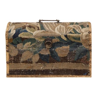 Bombe Wood Trunk Covered With 18th Century Aubusson Tapestry and Signed J. Lamy