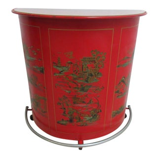 Vintage Chinoiserie Demi Lune Metal Bar Cabinet