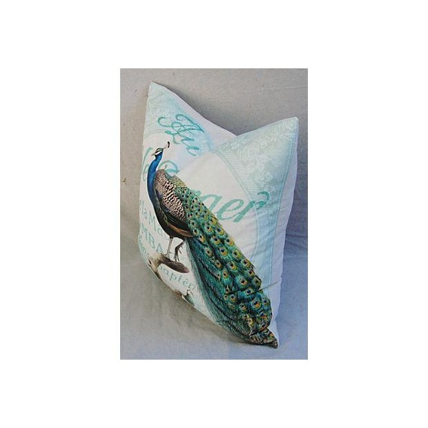 French Script Linen Pillow with Peacock - Image 4 of 7