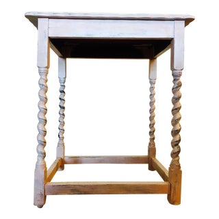Vintage Shabby Chic Chalk Painted Wood Side Table