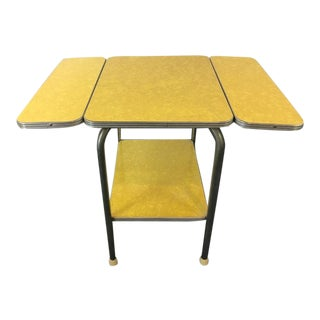 Chrome & Yellow Laminate Drop Leaf Table
