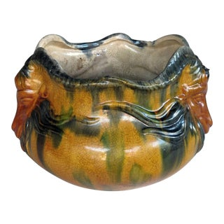 A Shapely American Ohio Pottery Ochre and Teal Drip-Glazed Jardiniere