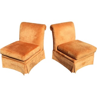 Sherrill Peach Velvet Slipper Chairs - A Pair