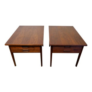 Jens Risom Mid-Century 2 Drawer Walnut End Tables - A Pair